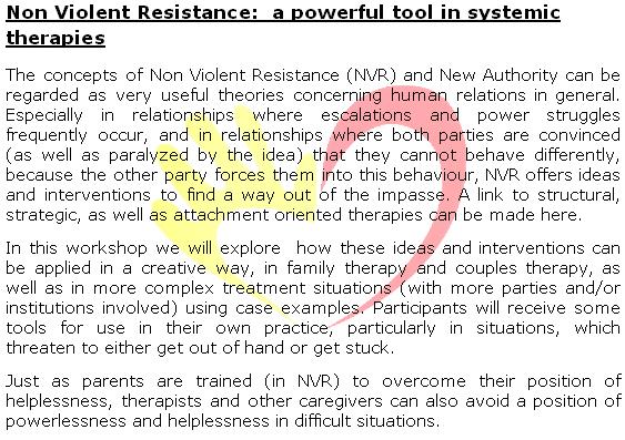 Frans Duintjer & Mies de Cock: Non Violent Resistance: a ... Non Violent Resistance Parenting