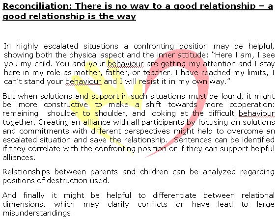 Michael Grabbe: Reconciliation: There is no way to a good ... Non Violent Resistance Parenting